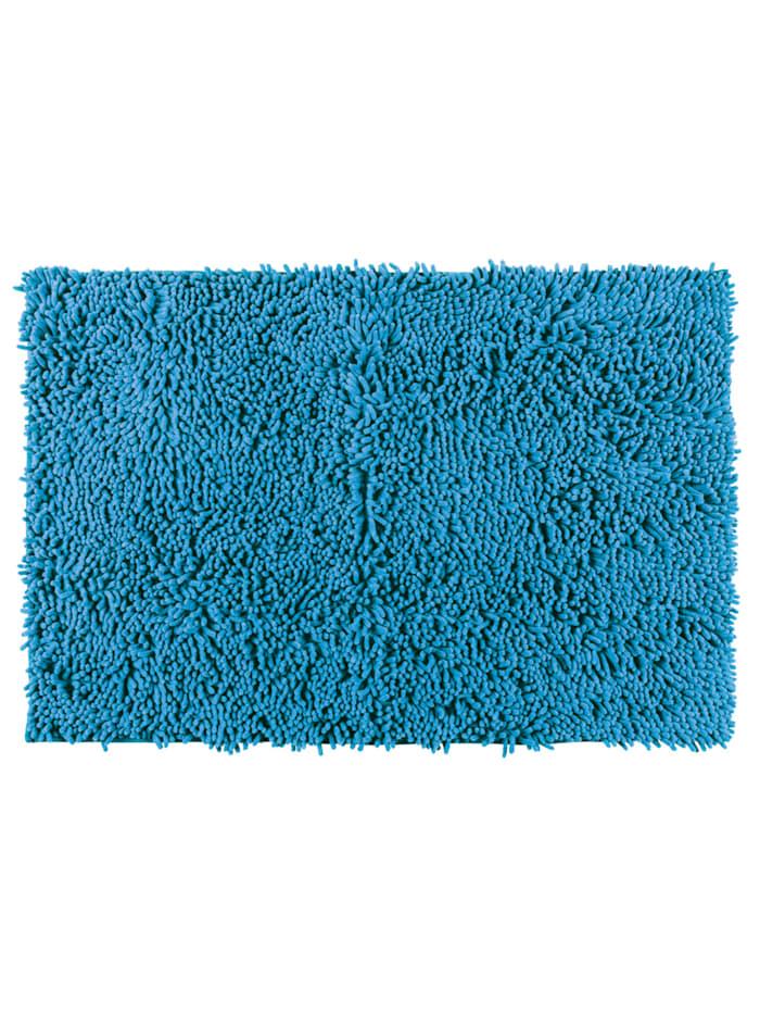 Wenko Badteppich Chenille Ocean Blue, 50 x 80 cm, Oberfläche: Blau, Rückseite