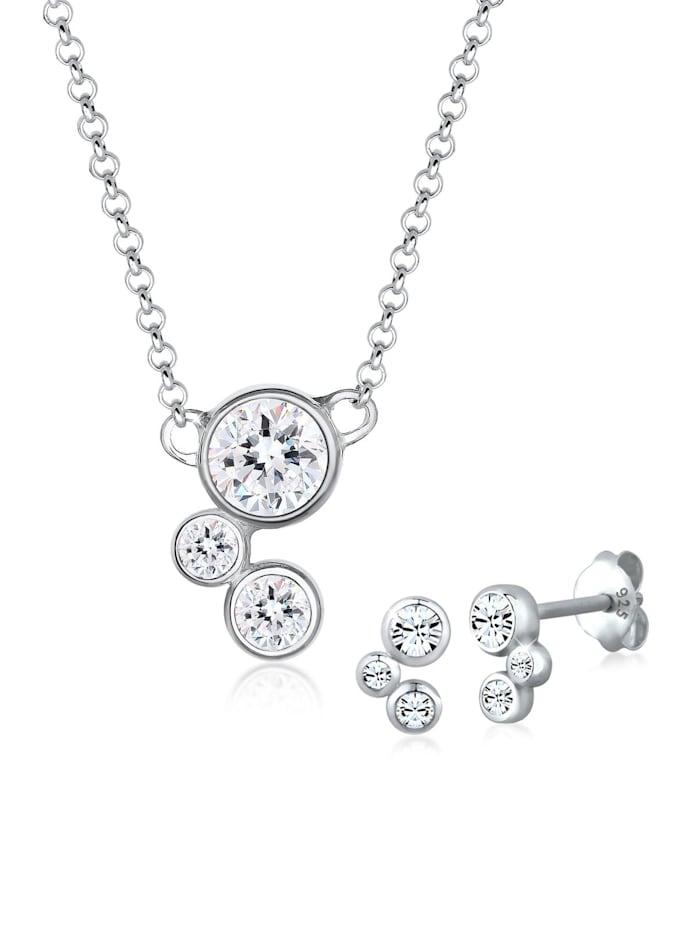 Elli Schmuckset Klassisch Kristalle 925 Sterling Silber, Silber