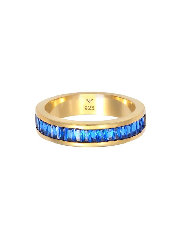 Ring Synthetischer Saphir Rechteck 925 Silber Vergoldet