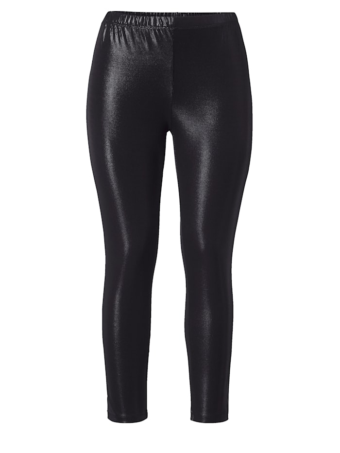 Sara Lindholm Leggings in Lederimitat, Schwarz
