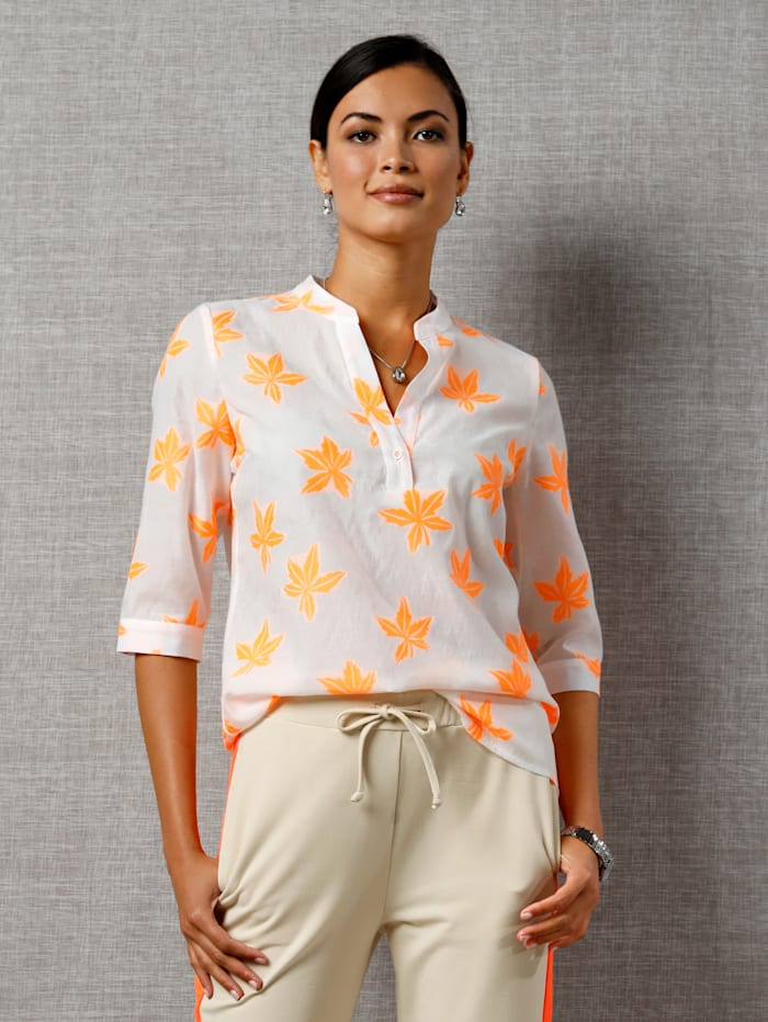AMY VERMONT Bluse mit Blätterdruck, Weiß/Neonorange