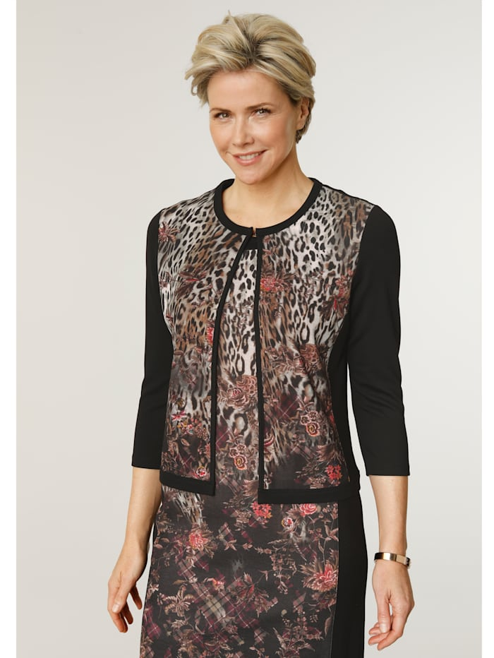 MONA Jacket in a chic mixed print, Black/Beige/Berry