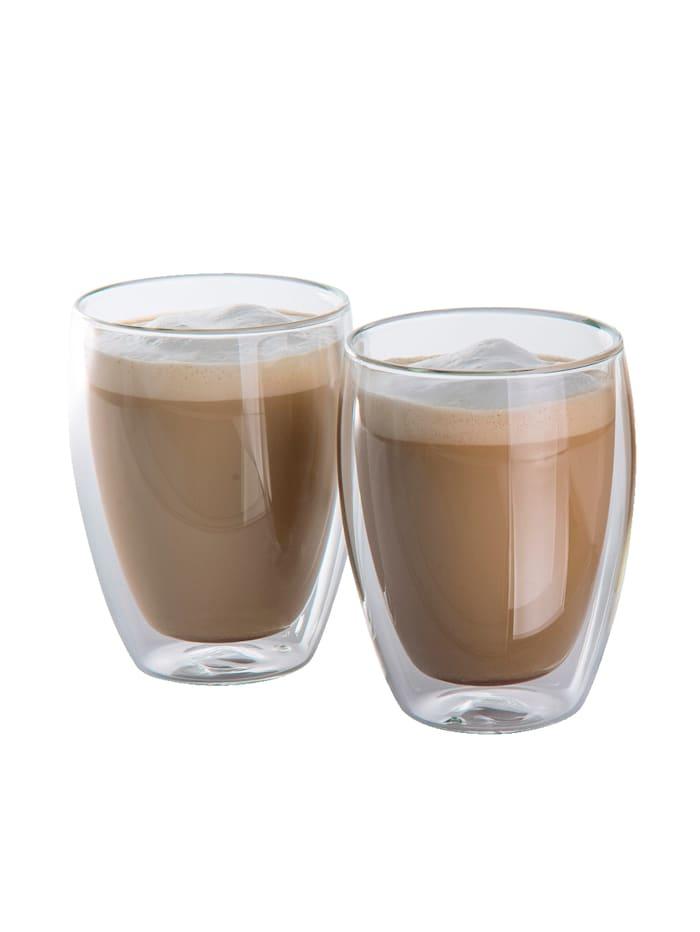 HELU Lot de 2 verres à cappuccino, Transparent