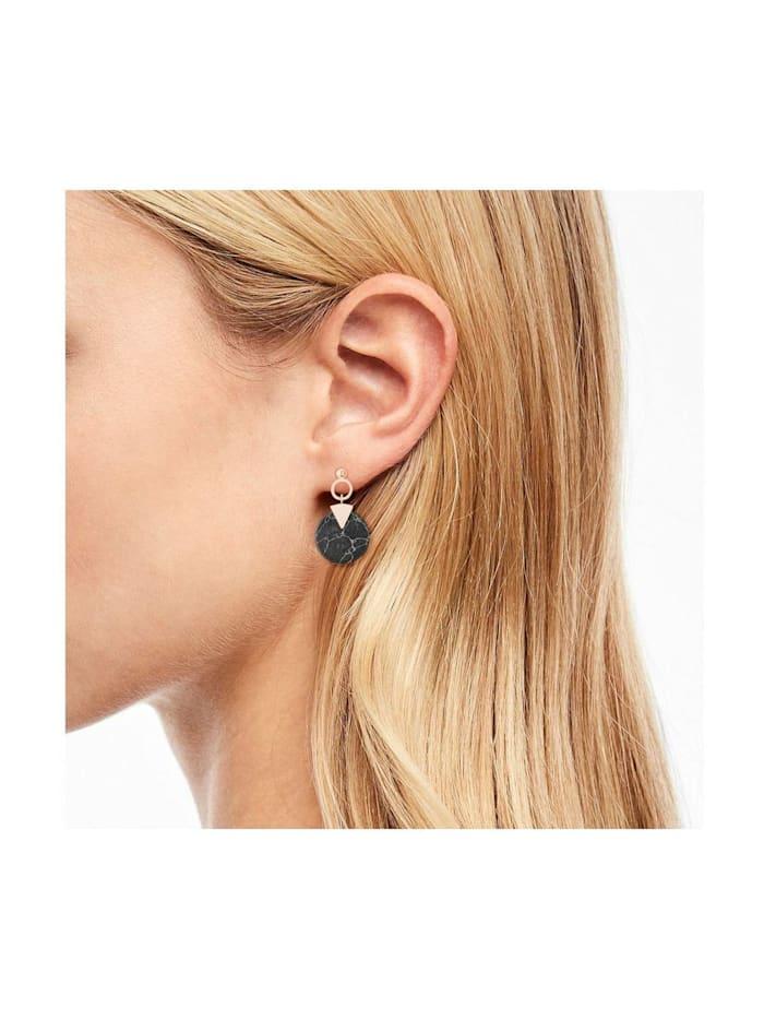 Ohrhänger für Damen, Marmor, Edelstahl IP Rose