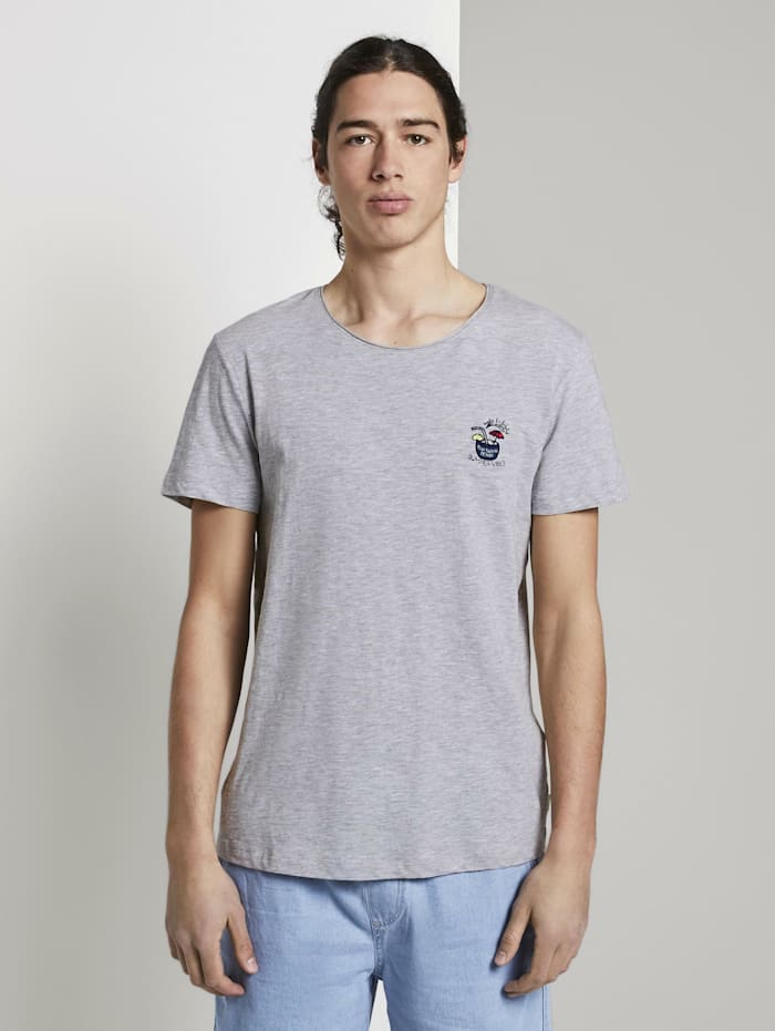 Tom Tailor Denim Schlichtes T-Shirt, Light Stone Grey Melange