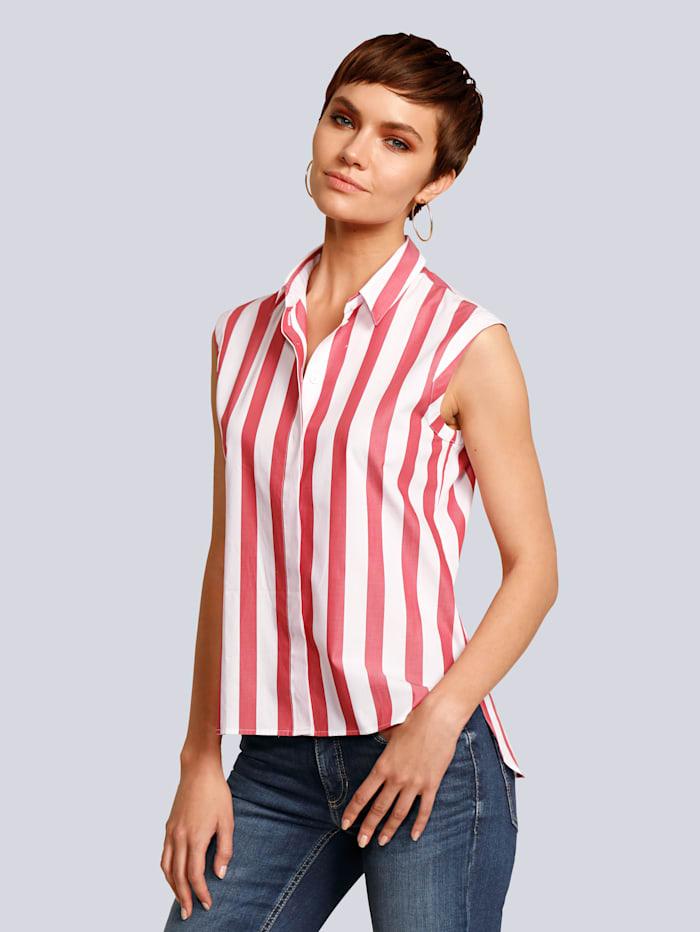 Seidensticker Bluse aus reiner Baumwolle, Weiß/Rot