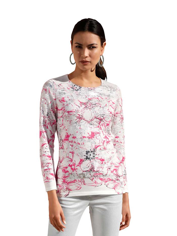AMY VERMONT Pullover mit Blumendruck und Foliendruck, Off-white/Pink