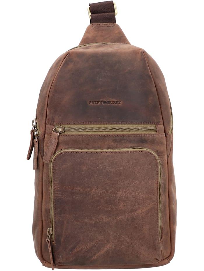 Greenburry Vintage Tec Umhängetasche Leder 22 cm, brown