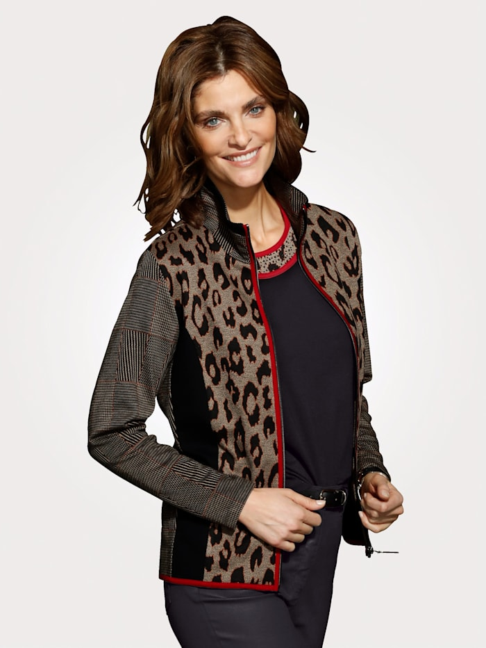 MONA Jacket in a mixed print, Brown/Black/Red
