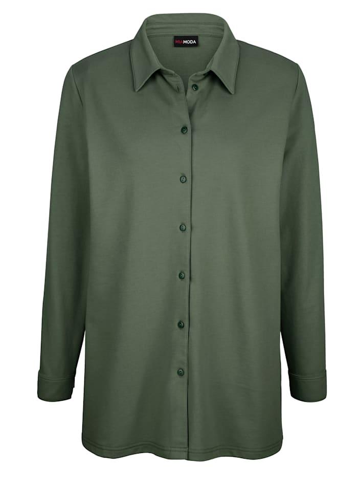 MIAMODA Bluse med knapper, Kaki