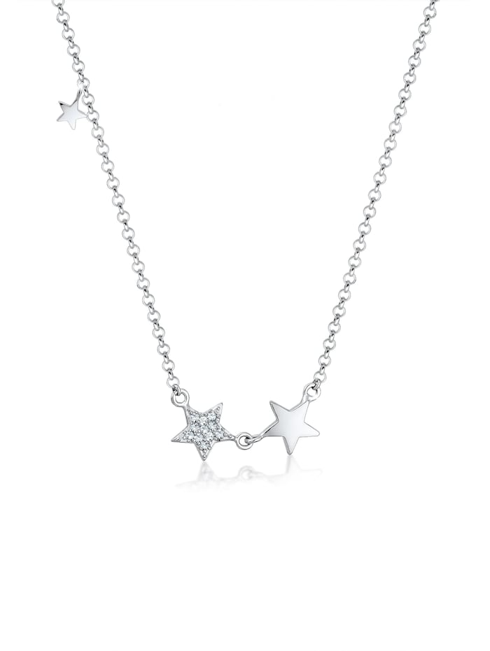 Elli Halskette Stern Astro Trend Swarovski® Kristalle 925 Silber, Silber
