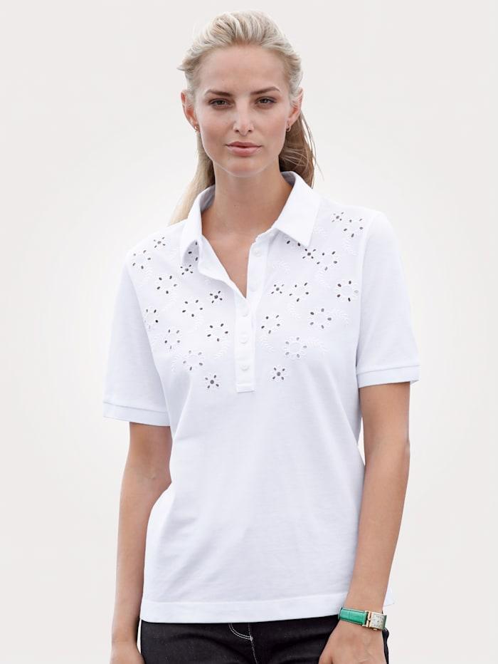 MONA Poloshirt van zuiver katoen, Wit