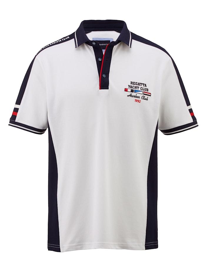 BABISTA Poloshirt mit farbigen Kontrasteinsätzen, Weiß/Marineblau