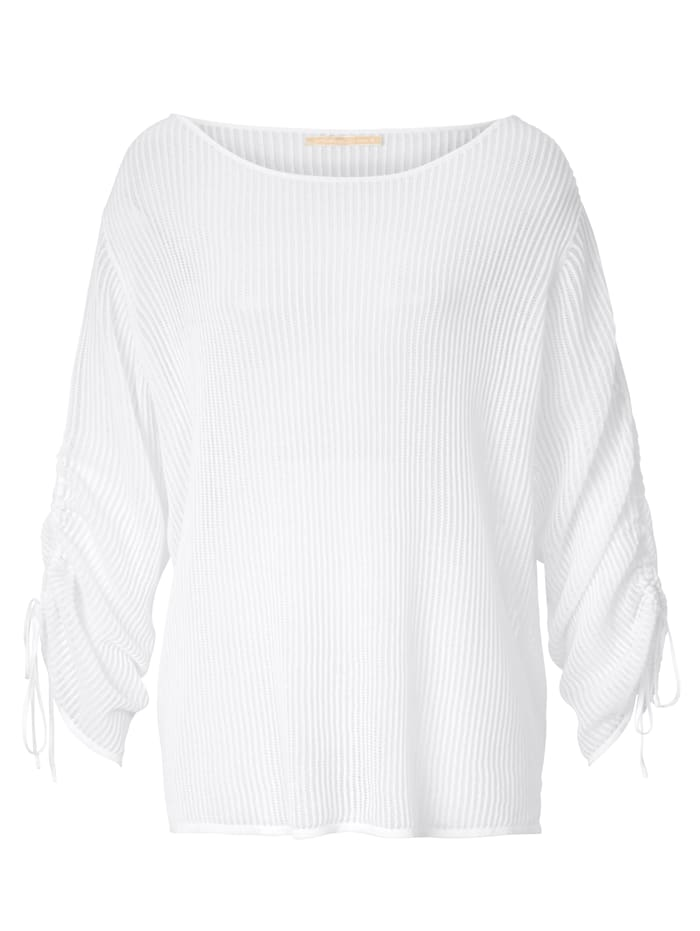 Mellow Peach Pullover mit Ajourmuster, Off-white