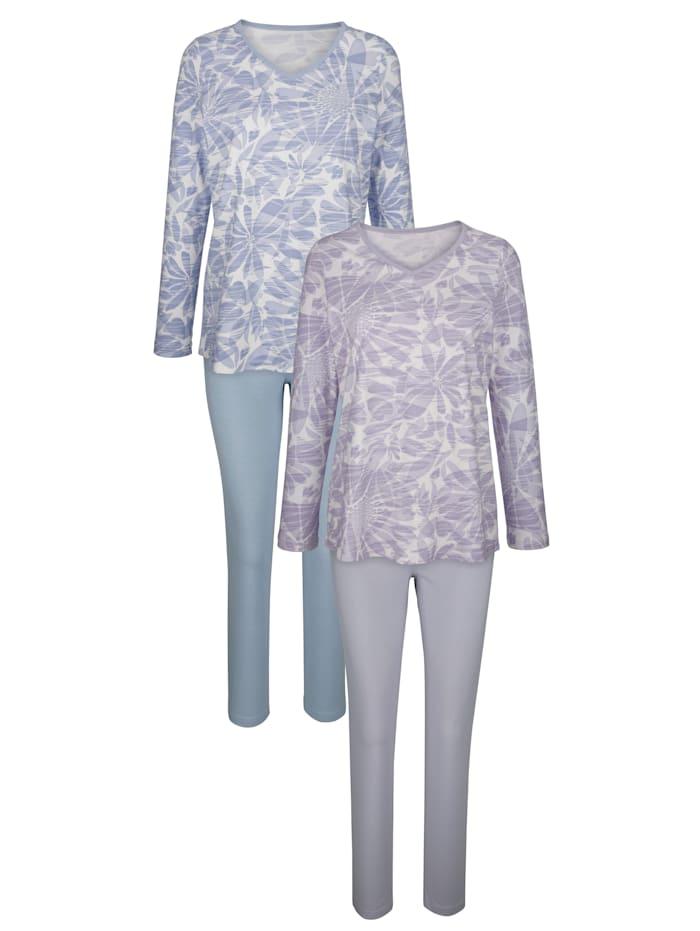 Harmony Pyjama met bloemendessin, Rookblauw/Lila