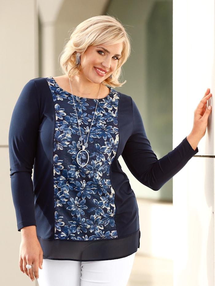 m. collection Shirt mit floralem Spitzeneinsatz, Marineblau/Hellblau