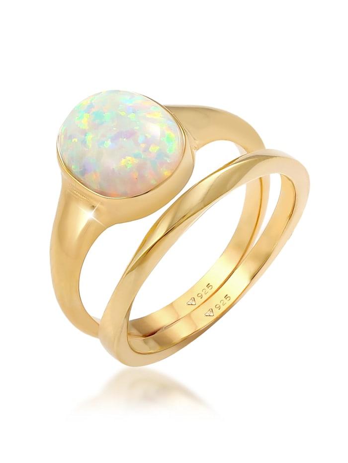 Elli Ring Set Klassik Opal Basic Twist 925 Silber Vergoldet, Gold