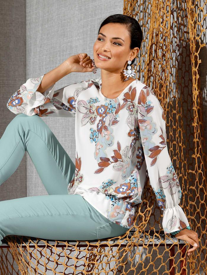 AMY VERMONT Bluse mit floralem Druck allover, Off-white/Blau