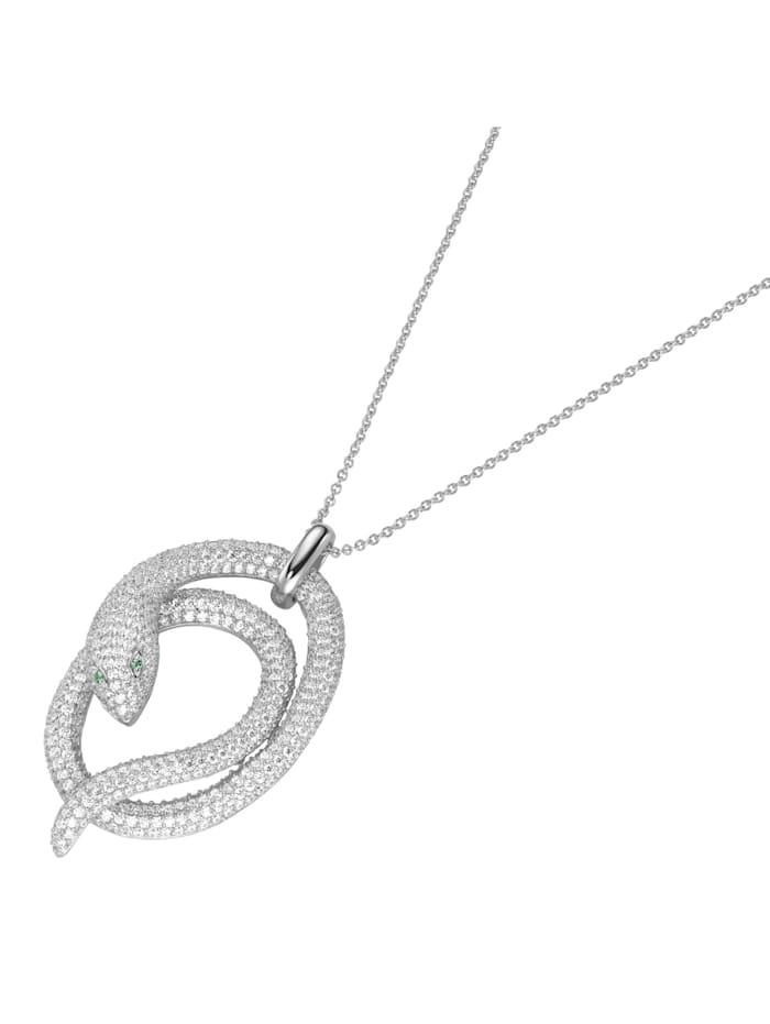 Giorgio Martello Kette Anhänger Schlange mit Zikonia, Silber 925, Weiss
