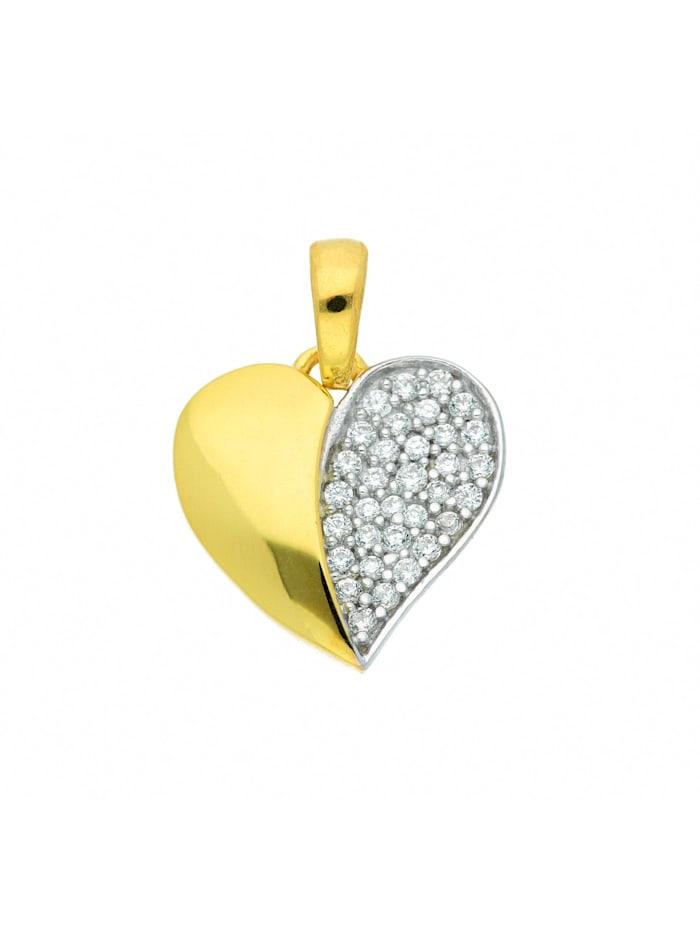 1001 Diamonds Damen Goldschmuck 333 Gold Anhänger Herz mit Zirkonia, gold