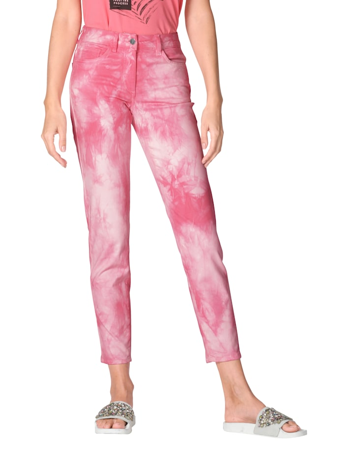 AMY VERMONT Hose mit Batik-Muster allover, Rosé/Weiß