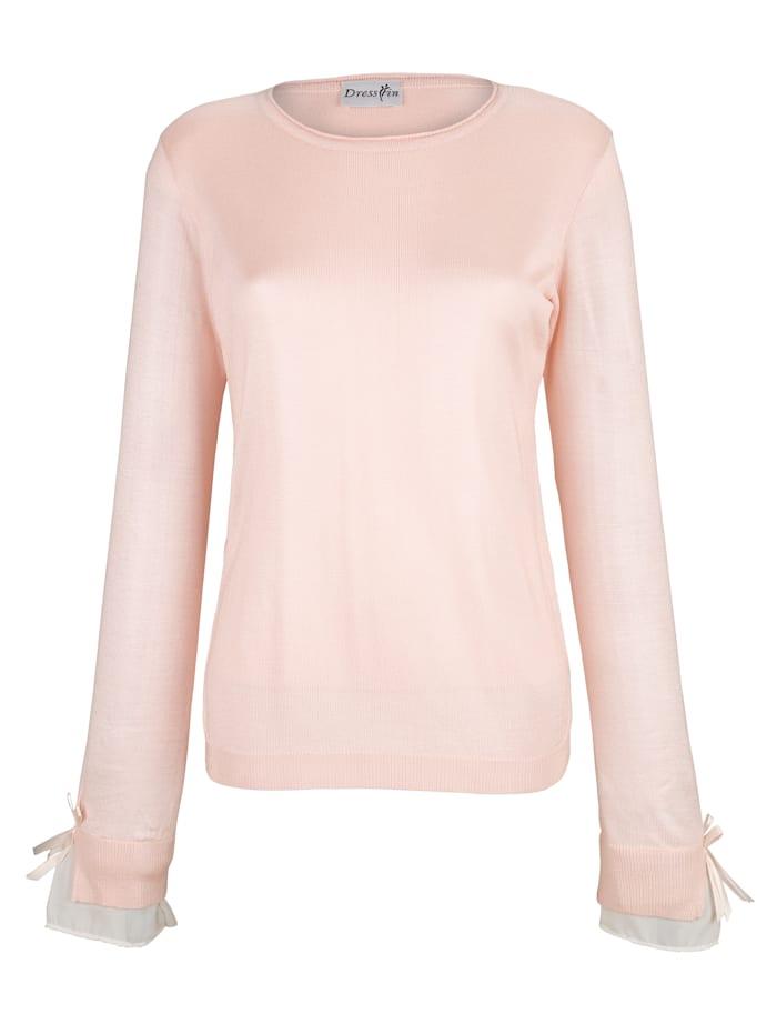 Dress In Pullover mit Webeinsatz am Arm, Rosé