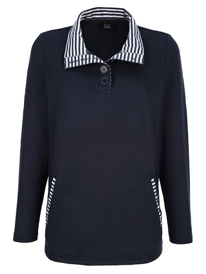 Paola Sweatshirt mit Streifendetails, Marineblau