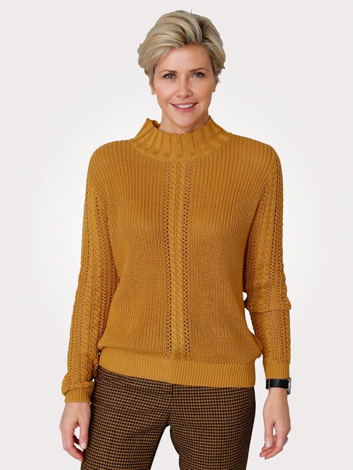 MONA Pullover mit Struktur, Ockergelb