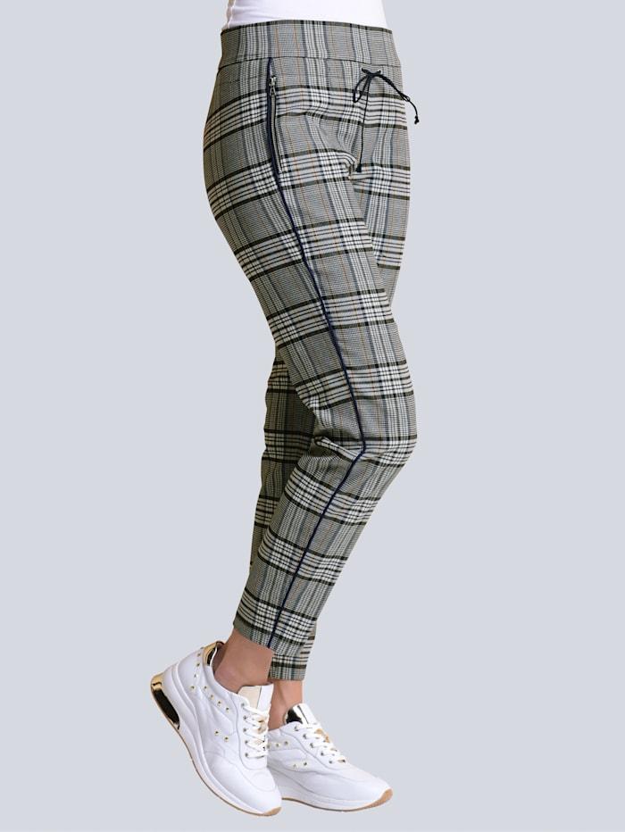 Alba Moda Hose in aktueller Joggpantform, Off-white/Marineblau/Gelb