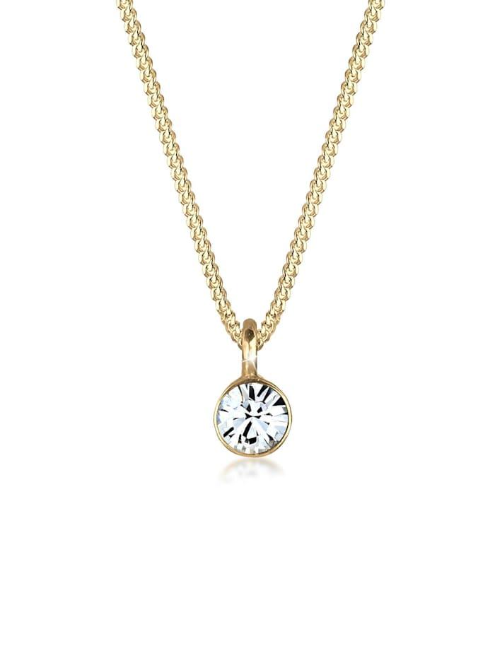 Elli Halskette Solitär Anhänger Kristall 925 Silber, Gold