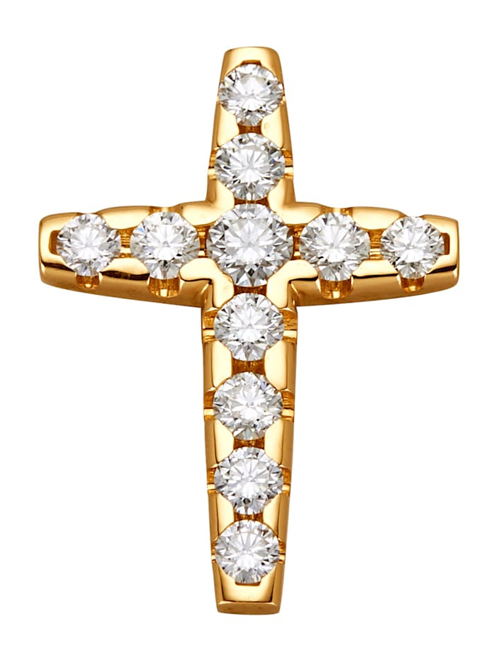 Diemer Diamant Timantillinen, kultainen ristiriipus, Valkoinen