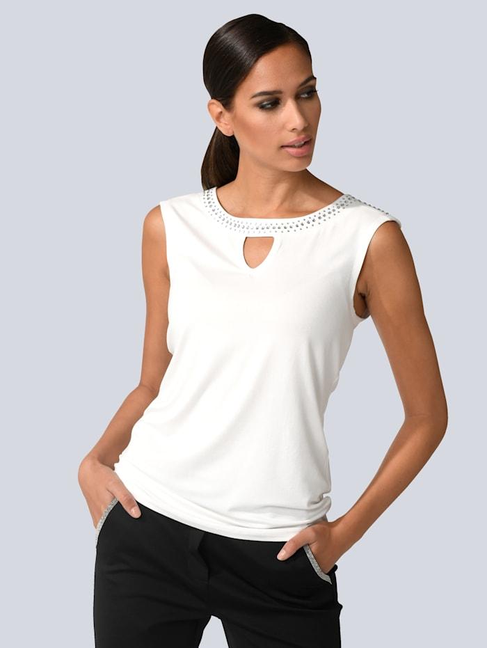 Alba Moda Top mit Nietenapplikation, Off-white