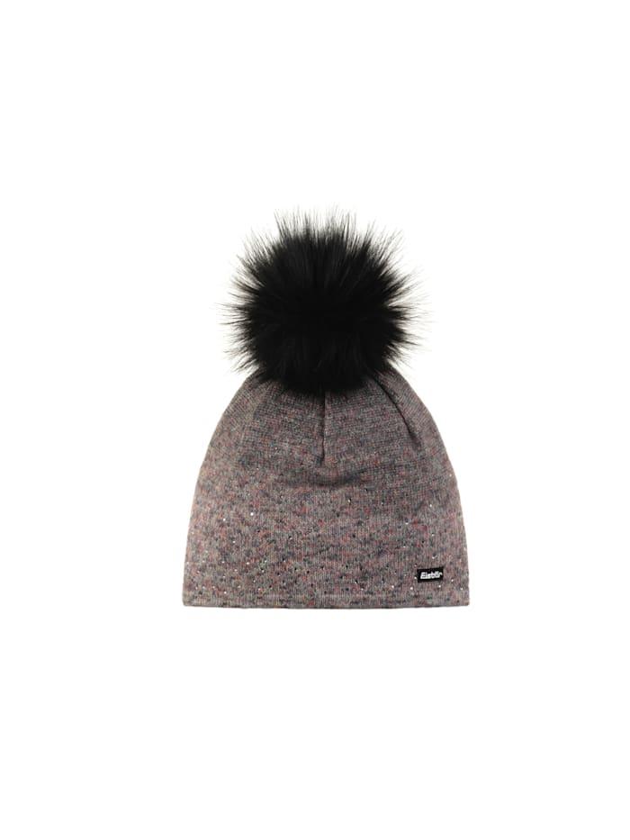 Eisbär Stylische Dünnstrickt-Damenmütze mit speziellem Foliendruck  <<Tiana>>, bunteffekt-schwarz/schwarz