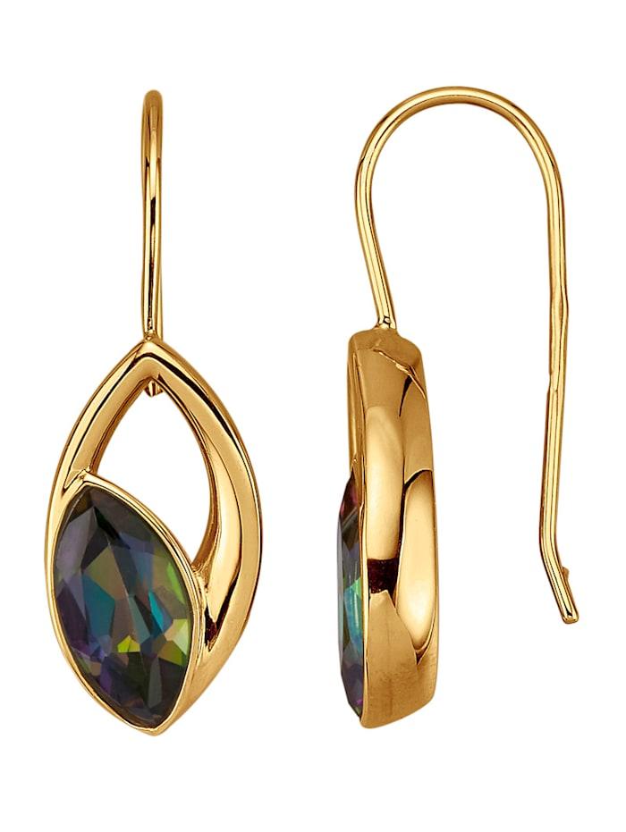 Amara Pierres colorées Boucles d'oreilles avec topazes Mystic Fire, Multicolore