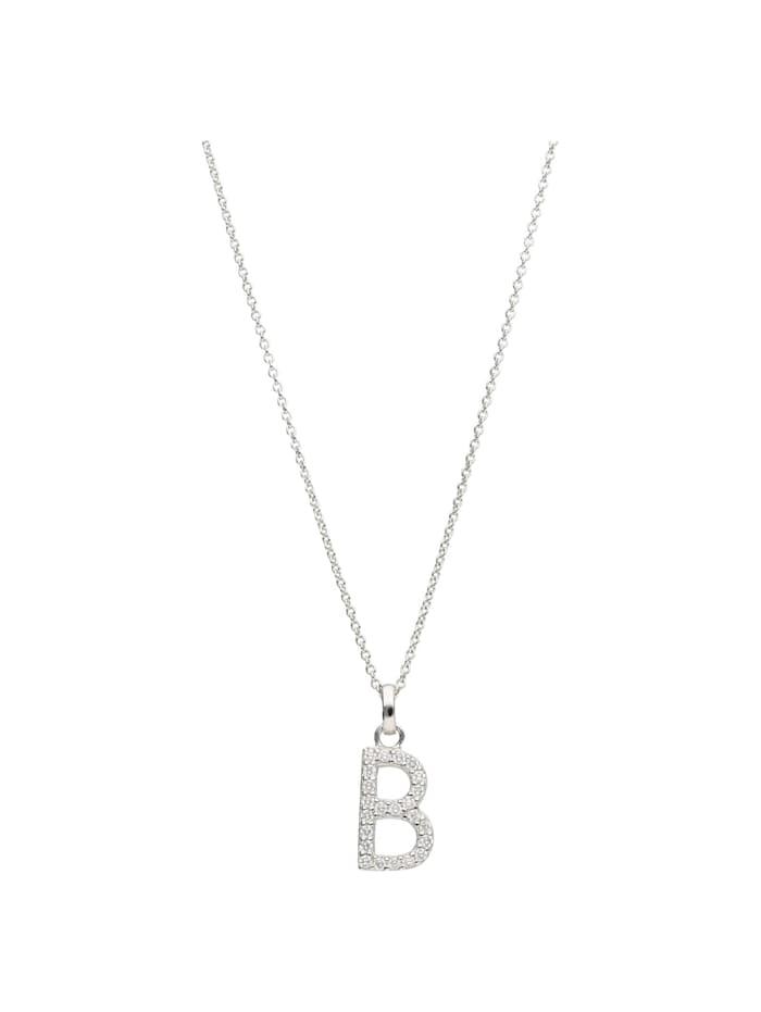 Smart Jewel Kette Buchstabe B mit Zirkonia Steine, Silber 925, Silber