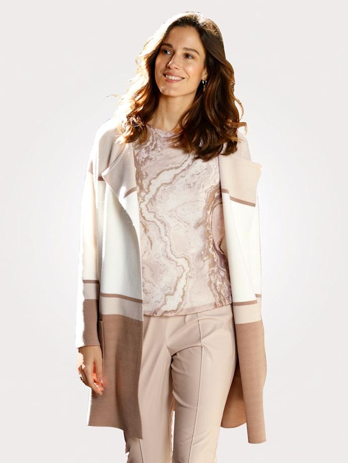 MONA Vest met blokstrepen in harmonieuze kleuren, Ecru/Kit/Taupe