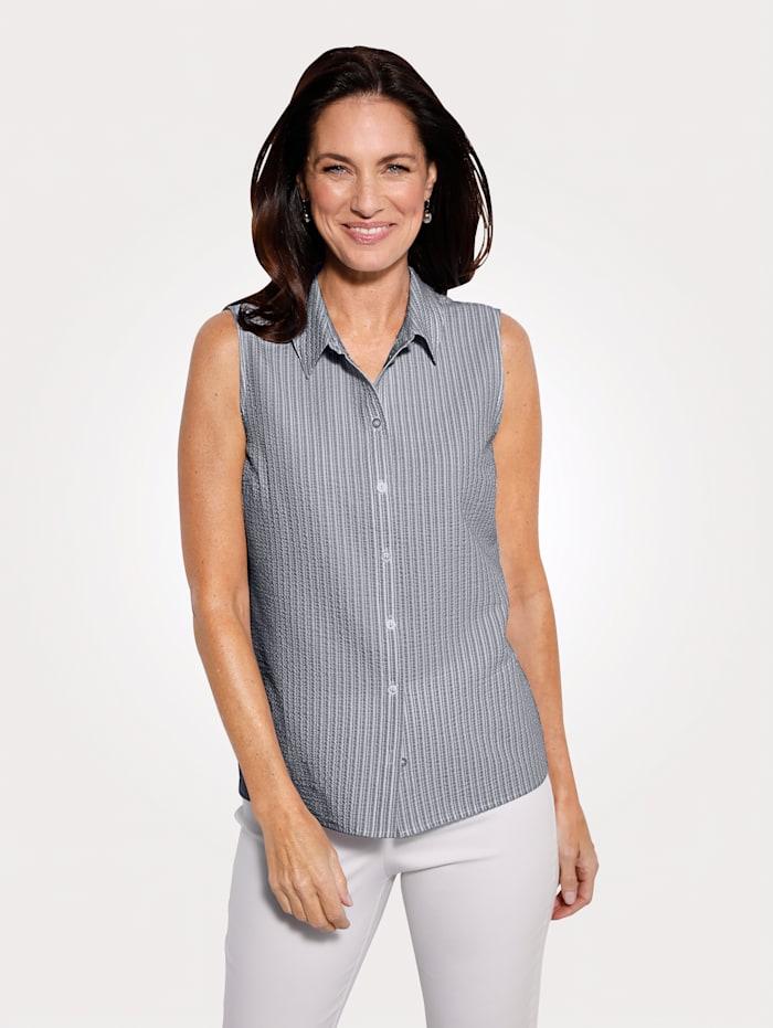 MONA Bluse in Seersucker-Qualität, Marineblau/Weiß