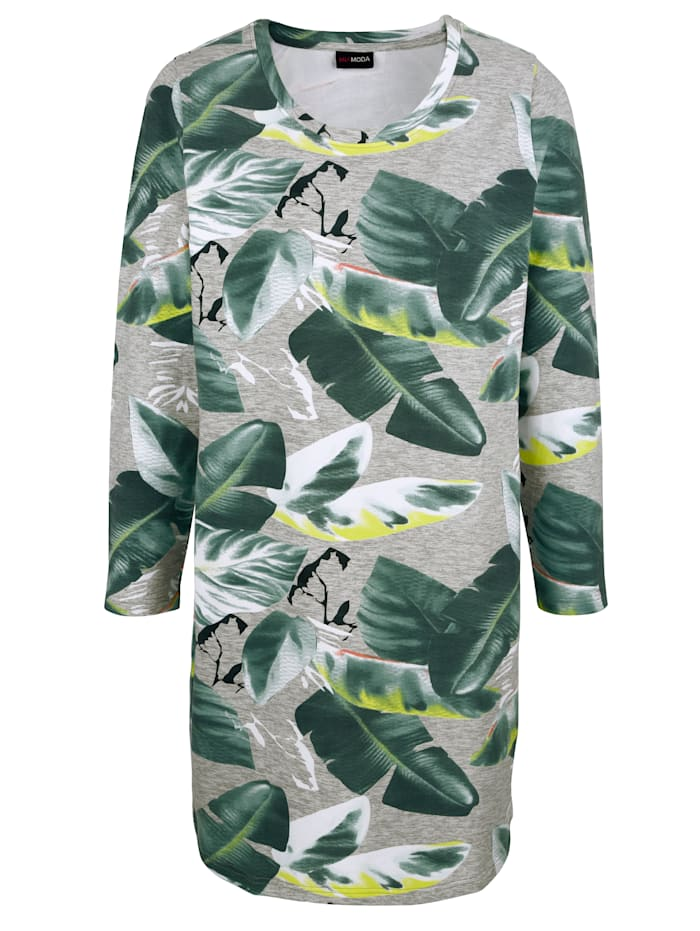 MIAMODA Sweat-shirt long à imprimé floral, Vert/Blanc