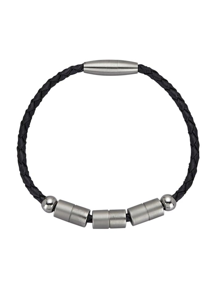 Magnetic Balance Leder-Armband, Edelstahl aus Edelstahl, Schwarz
