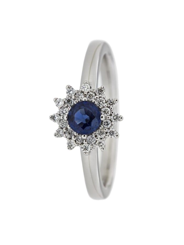 Orolino Ring 585/- Gold Safir blau Safir Glänzend 0.1900 Karat 585/- Gold, weiß