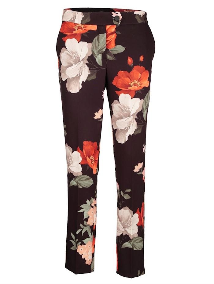 AMY VERMONT Hose mit floralem Druck, Schwarz/Multicolor
