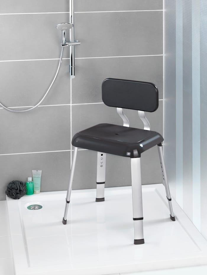 Wenko Badhocker mit Rückenlehne Secura Premium, silber