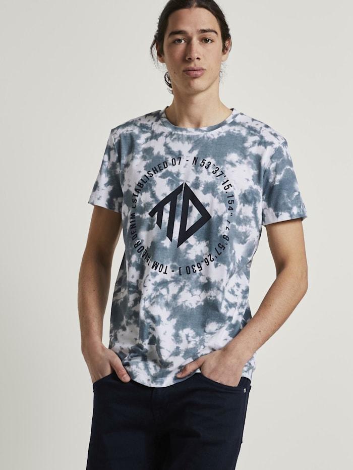 Tom Tailor Denim T-Shirt im Batik-Look, blue white batik print