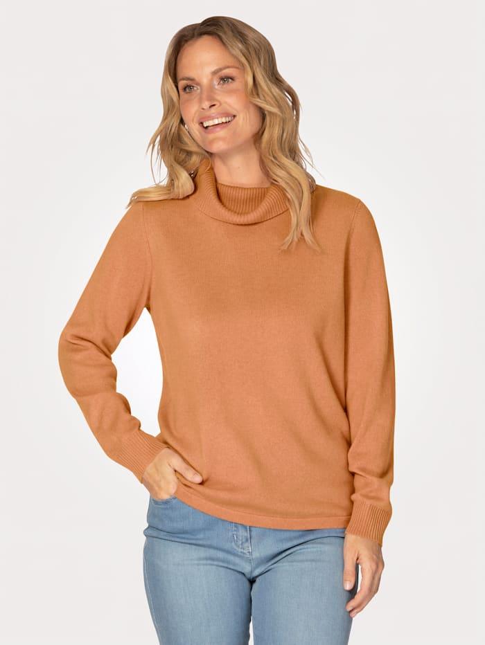 MONA Cashmere jumper with a snug polo neck, Apricot