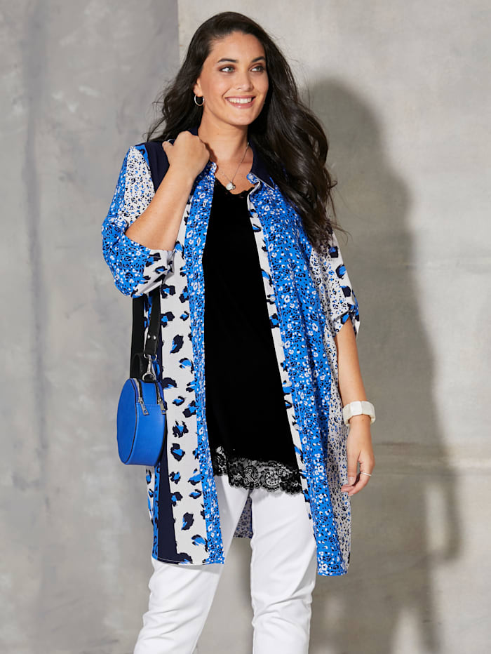 MIAMODA Blouse met omslagmouwen, Blauw/Royal blue/Wit