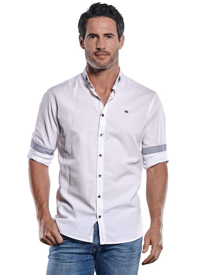 Engbers Unifarbenes Langarmhemd mit modischen Designdetails, Reinweiss