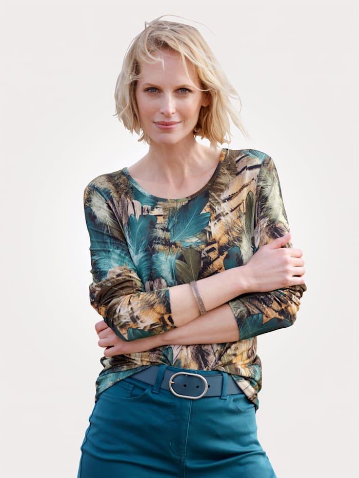 MONA Shirt mit Federn-Druck, Petrol/Hellorange