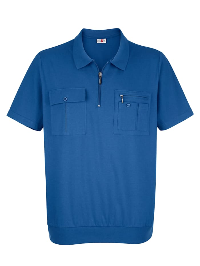 Roger Kent Blousonshirt mit praktischen Brusttaschen, Blau