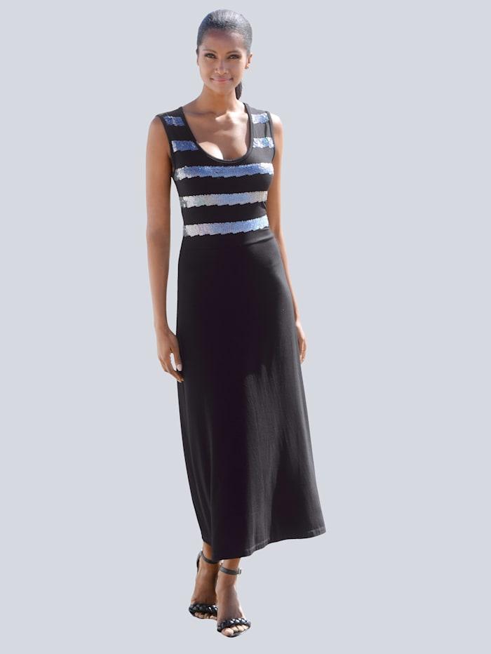 Alba Moda Kleid mit Pailletten, schwarz-silber