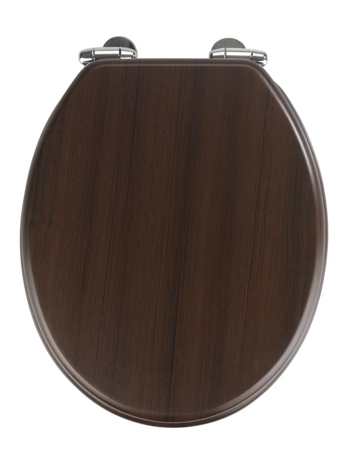 Wenko WC-Sitz Wenge, mit Absenkautomatik, Braun - Dunkelbraun, Befestigung: Silber glänzend